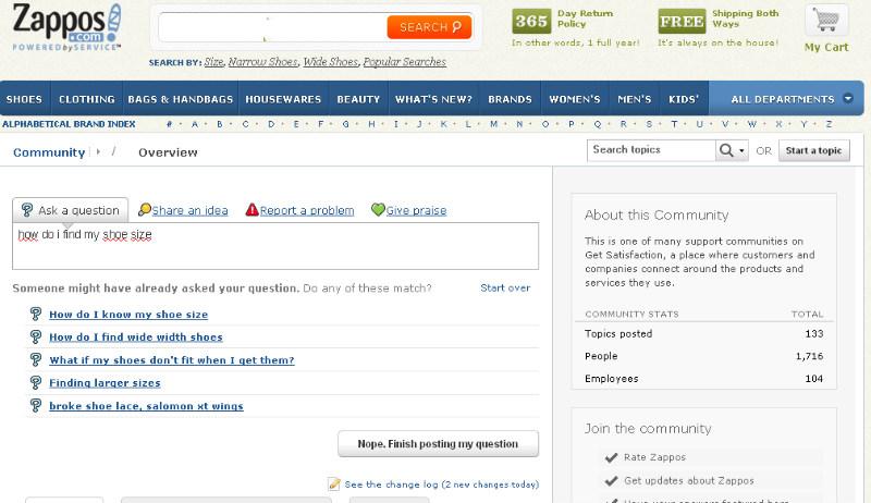 online shop Zappos på get satisfaction