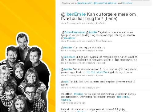 Skats profil på Twitter med fotos af de tweetende medarbejdere