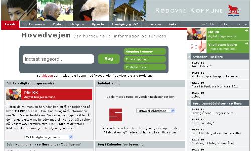 Rødovre Kommune - forside med stort søgefelt