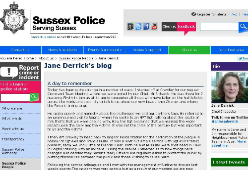 screenshot fra  http://www.sussex.police.uk
